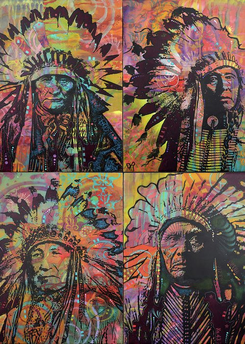 Chiefs Quadrant Greeting Card featuring the mixed media Chiefs Quadrant by Dean Russo