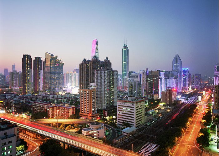 Corporate Business Greeting Card featuring the photograph China, Shenzen Skyline At Dusk by Martin Puddy