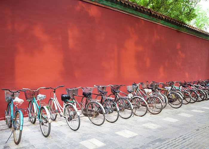 Shadow Greeting Card featuring the photograph Chinese Bikes by Sam Diephuis