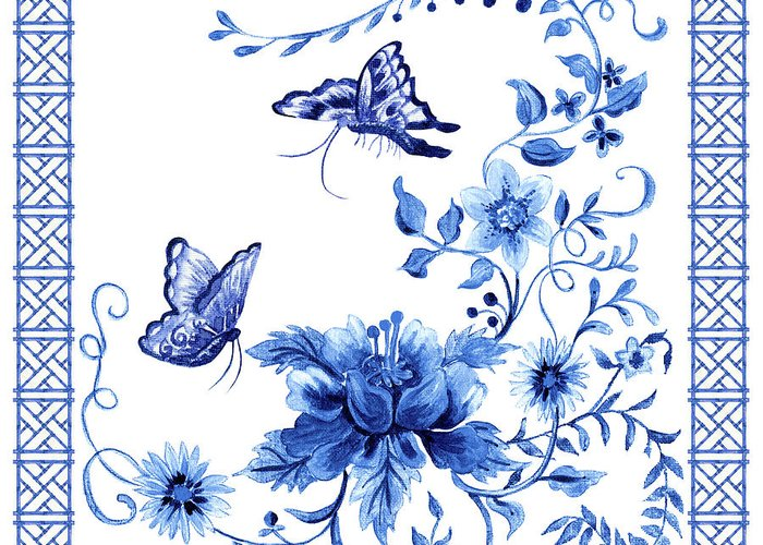 Butterflies Greeting Card featuring the painting Chinoiserie Blue And White Pagoda With Stylized Flowers Butterflies And Chinese Chippendale Border by Audrey Jeanne Roberts
