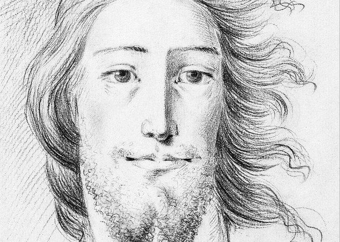 Sketch Greeting Card featuring the painting Christ Sketch By Jean Bernard 1775-1883 by Celestial Images
