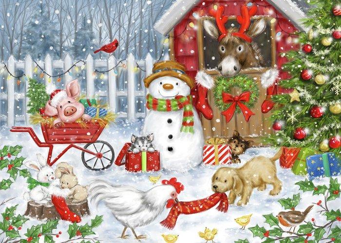 Christmas Farm Animals Greeting Card featuring the mixed media Christmas Farm Animals by Makiko