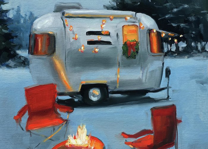 Camping Christmas Cards.Winter Camping Greeting Cards Fine Art America