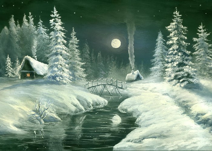 Art Greeting Card featuring the digital art Christmas Night In The Country by Pobytov