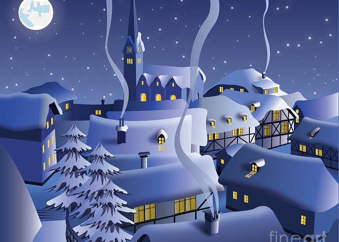 Door Greeting Card featuring the digital art Christmas Night by Nikola Knezevic