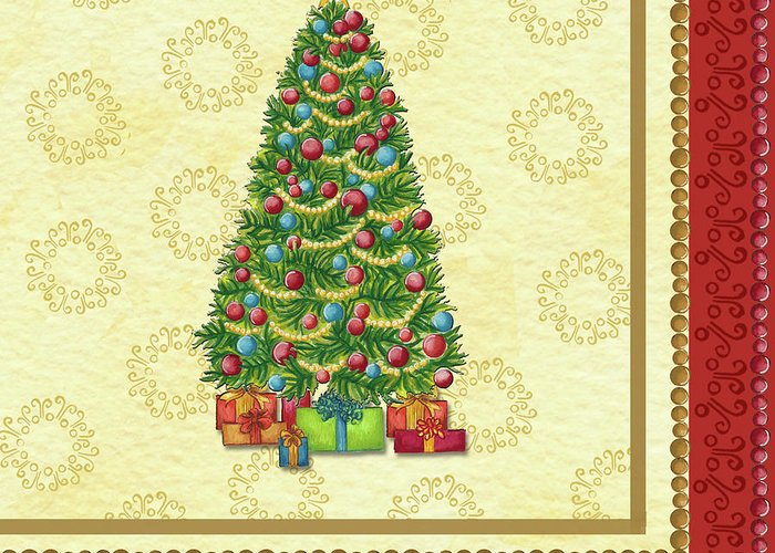 Christmas Tree Balls Greeting Card featuring the painting Christmas Tree Balls by Andrea Strongwater