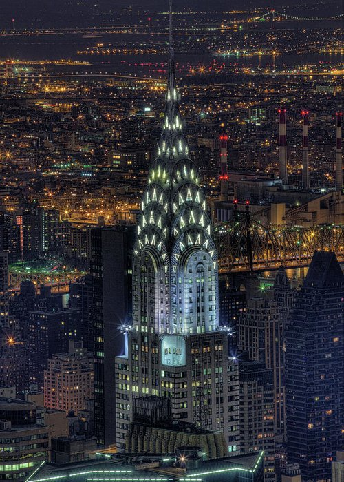 Outdoors Greeting Card featuring the photograph Chrysler Building At Night by Jason Pierce Photography (jasonpiercephotography.com)