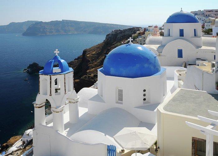 Greek Culture Greeting Card featuring the photograph Churches In Oia, Santorini, Greece by Tunart