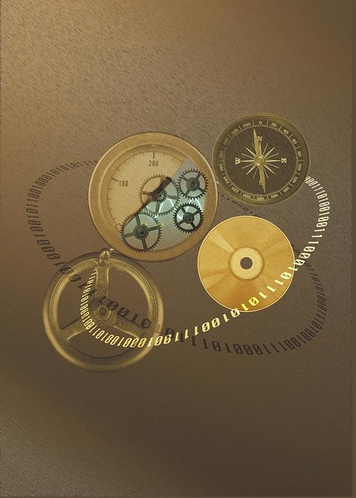 The Media Greeting Card featuring the photograph Circular Objects And Binary Code, Cg by Daj