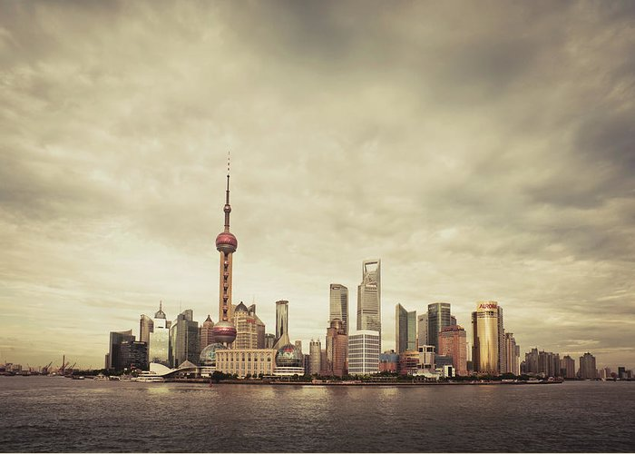 Communications Tower Greeting Card featuring the photograph City Skyline At Sunset, Shanghai, China by D3sign