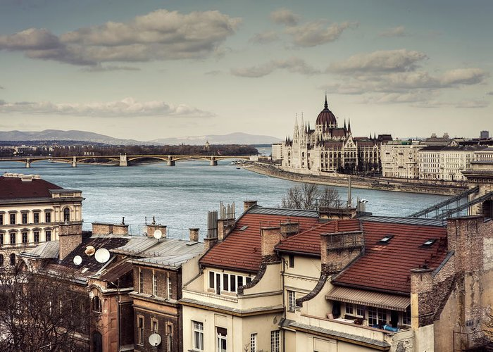 Tranquility Greeting Card featuring the photograph Cityscape Of Budapest by By Matthew Heptinstall