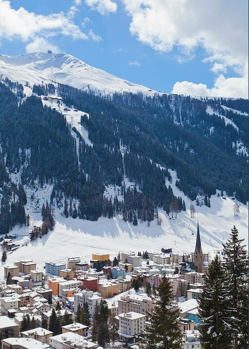 Snow Greeting Card featuring the photograph Cityscape Of Davos, Grisons, Switzerland by Werner Dieterich
