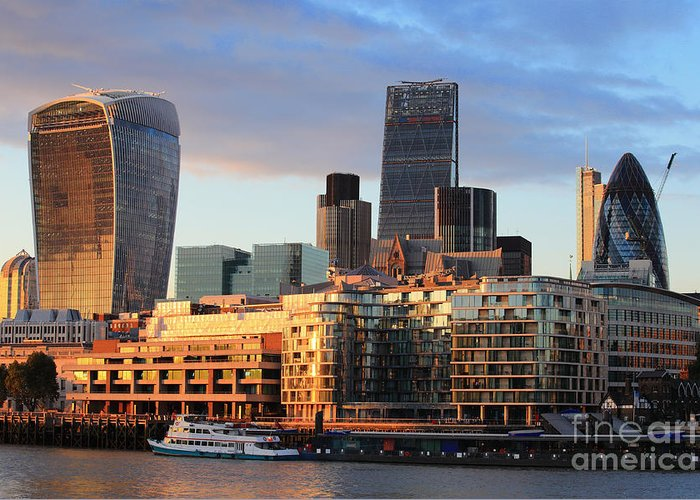 Capital Greeting Card featuring the photograph Cityscape Of London At Night, United by Aslysun