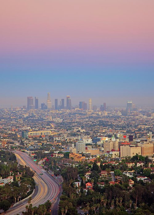 California Greeting Card featuring the photograph Cityscape Of Los Angeles by Eric Lo