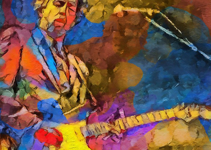 Clapton Plays The Blues Greeting Card featuring the painting Clapton Plays The Blues by Dan Sproul