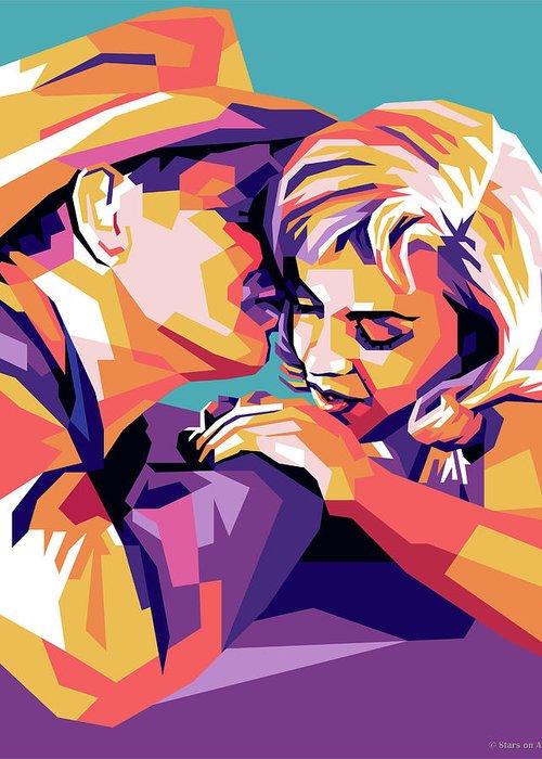 Clark Greeting Card featuring the digital art Clark Gable and Marilyn Monroe by Stars on Art