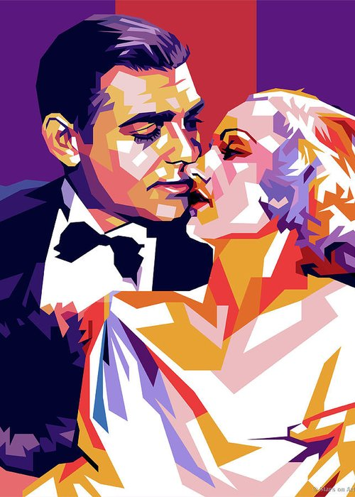 Clark Greeting Card featuring the digital art Clark Gable And Carole Lombard by Stars on Art