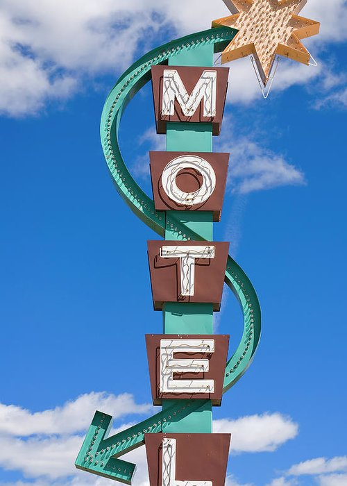 In A Row Greeting Card featuring the photograph Classic Motel Sign by Elementalimaging