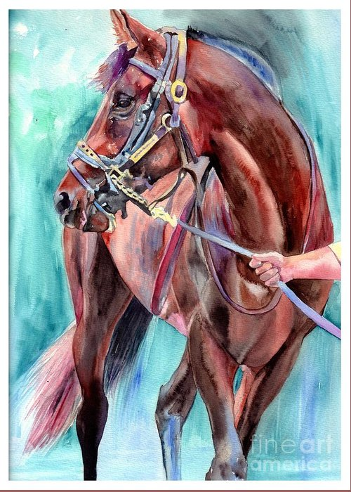 Watercolor Greeting Card featuring the painting Classical Horse Portrait by Suzann Sines