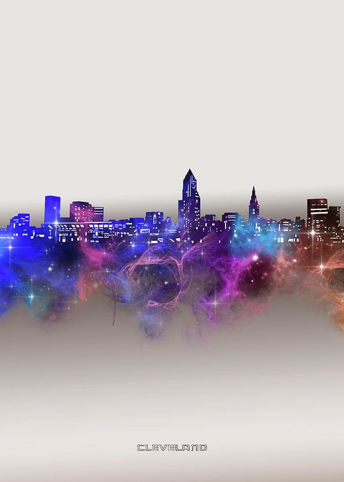 Cleveland Greeting Card featuring the digital art Cleveland Skyline Galaxy by Bekim M