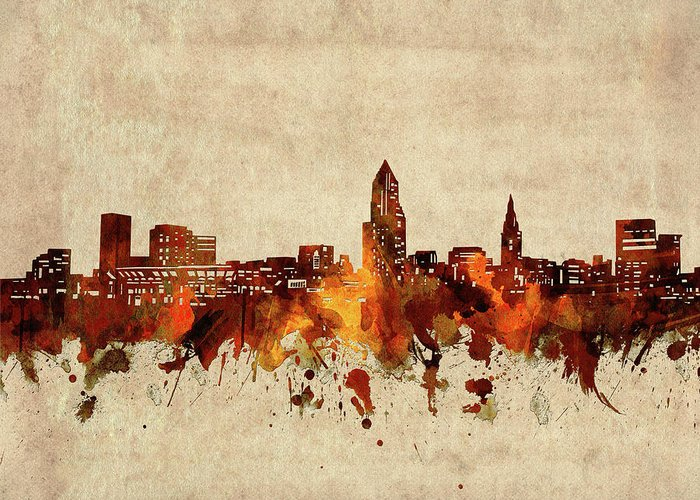 Cleveland Greeting Card featuring the digital art Cleveland Skyline Sepia by Bekim M