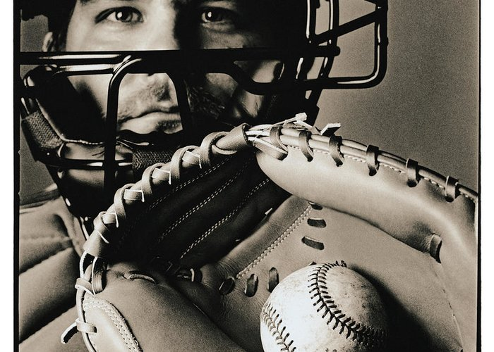 Baseball Catcher Greeting Card featuring the photograph Close-up Of Catcher by Anthony Saint James