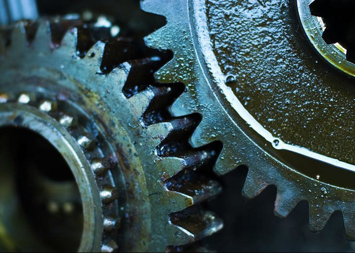 Teamwork Greeting Card featuring the photograph Close Up Of Greasy And Oily Gears by Sndrk
