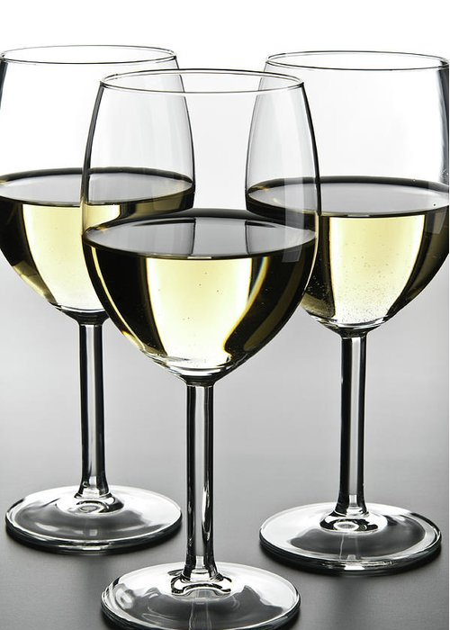 Alcohol Greeting Card featuring the photograph Close-up Of Three White Wine Glasses by Domin domin
