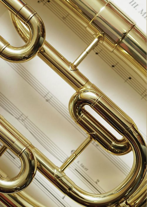 Sheet Music Greeting Card featuring the photograph Close-up Of Trumpet by Medioimages/photodisc