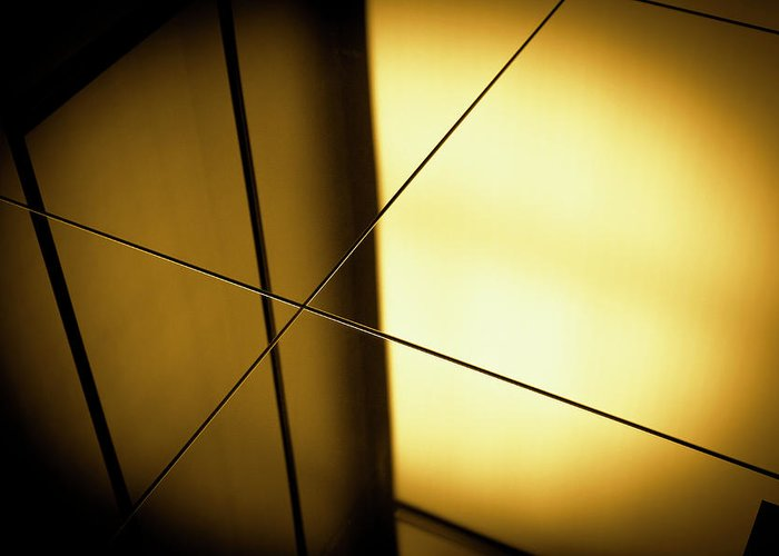 Shadow Greeting Card featuring the photograph Close-up Spot Lit Reflection In Yellow by Ralf Hiemisch