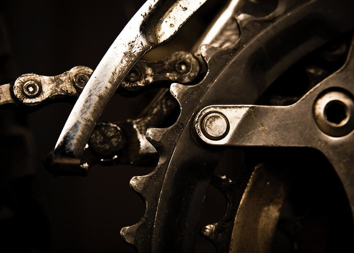 Unhealthy Eating Greeting Card featuring the photograph Closeup Of Front Derailleur by Halbergman