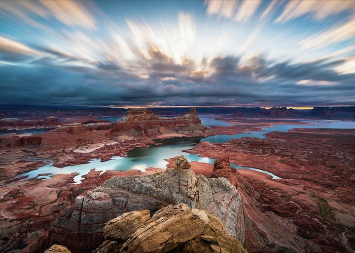 Lake Powell Greeting Card featuring the photograph Cloudy Morning at Lake Powell by James Udall
