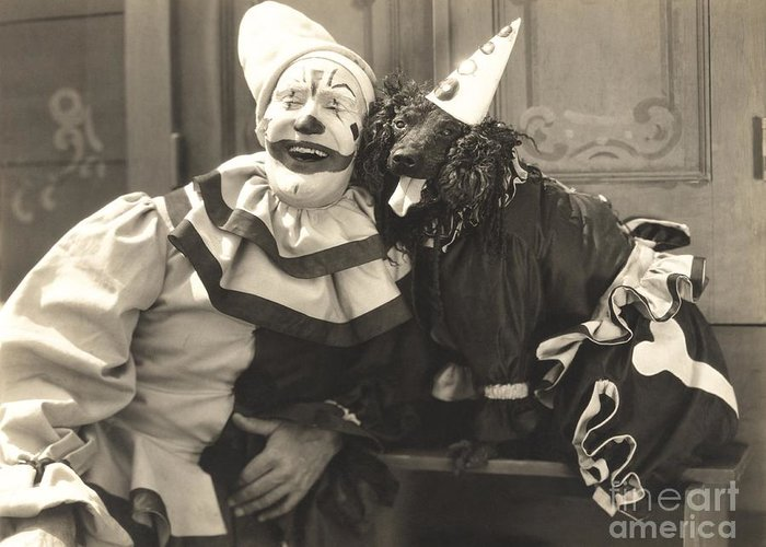 Makeup Greeting Card featuring the photograph Clown Posing With Dog Dressed In Clown by Everett Collection
