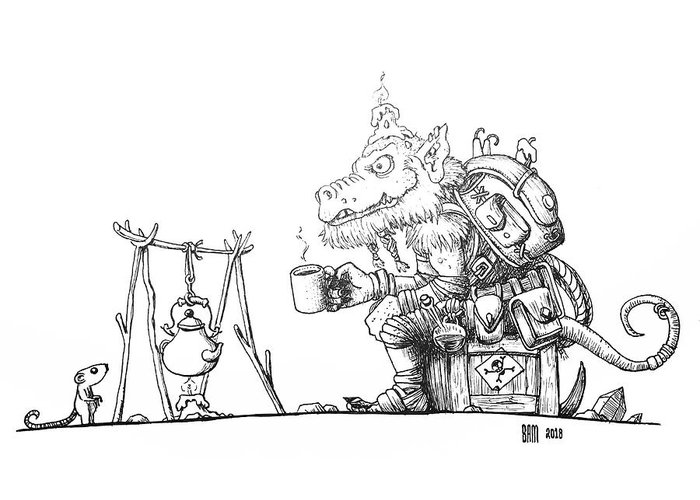 Cobold Greeting Card featuring the drawing Cobold enjoying a cup of Miners Coffee by Sami Matilainen
