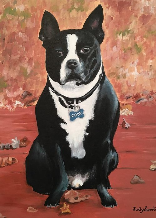Dog Greeting Card featuring the painting Cody by Judy Swerlick
