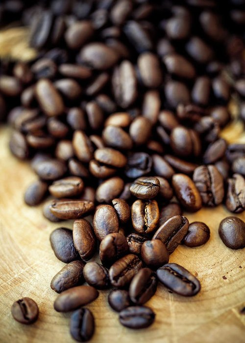 Black Color Greeting Card featuring the photograph Coffee Beans by Chang