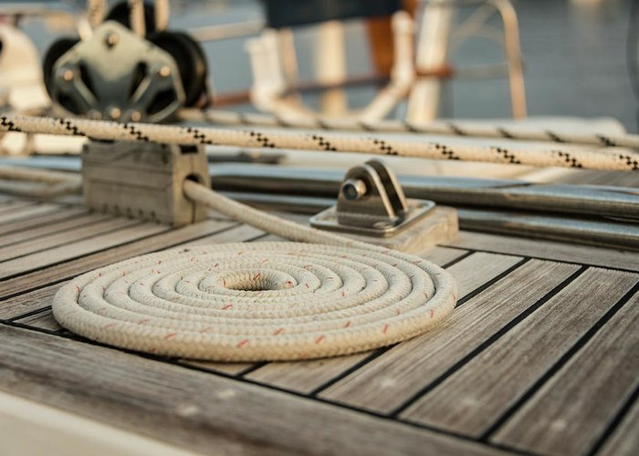 Sailboat Greeting Card featuring the photograph Coiled Line, Rope, On Teak Deck Of 62 by Gary S Chapman