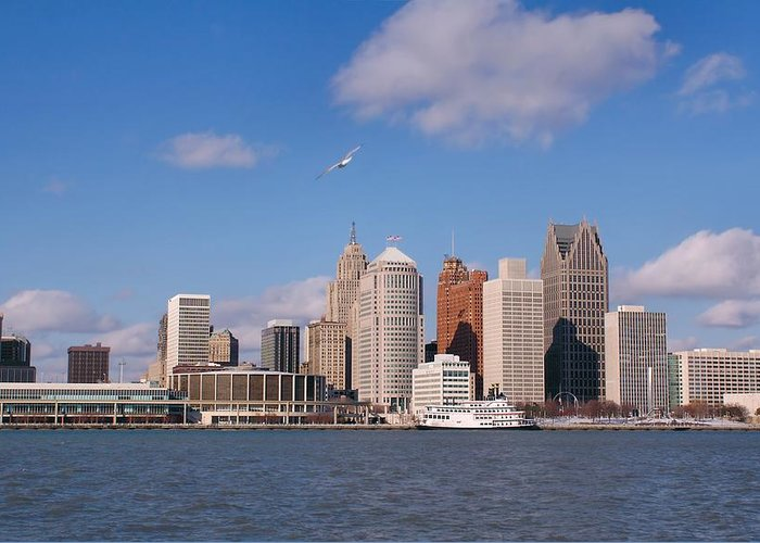Downtown District Greeting Card featuring the photograph Cold Detroit by Corfoto