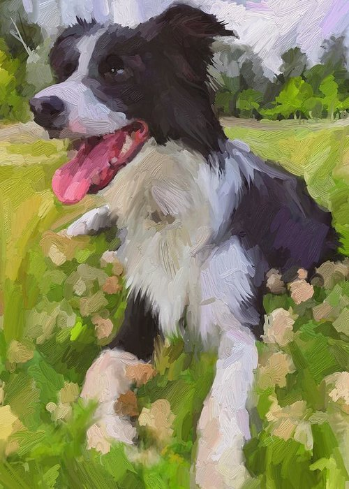 Border Collie Greeting Card featuring the digital art Collie Flowers by Scott Waters