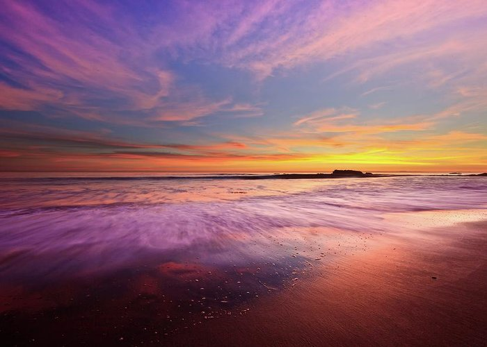 Scenics Greeting Card featuring the photograph Color Splash At Sunset, Laguna Beach by Eric Lo