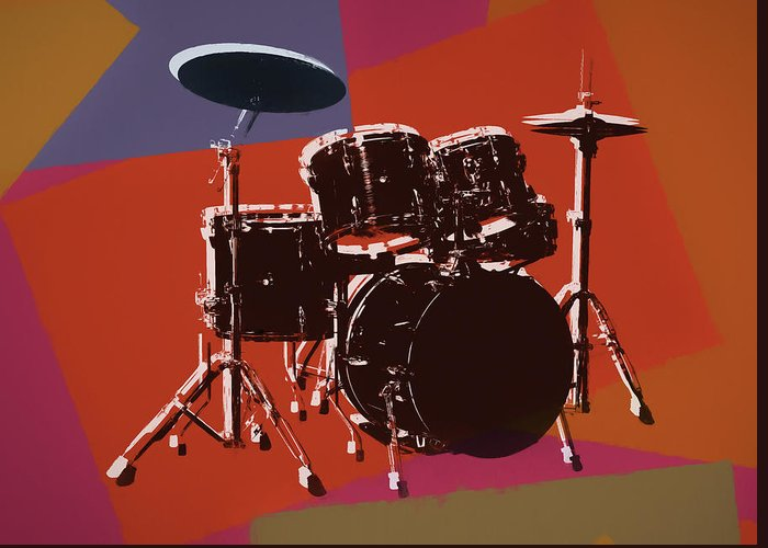 Drum Set Pop Art Greeting Card featuring the mixed media Colorful Drum Set Pop Art by Dan Sproul