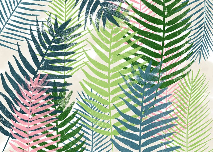Tropical Greeting Card featuring the mixed media Colorful Palm Leaves 2- Art by Linda Woods by Linda Woods