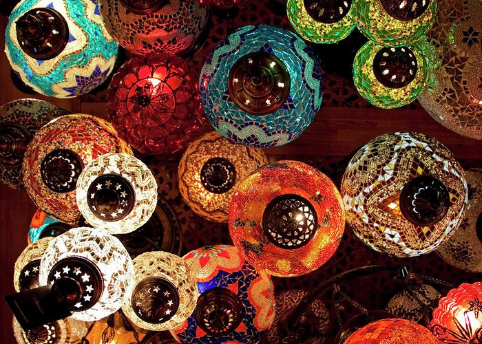 Antique Shop Greeting Card featuring the photograph Colorful Turkish Lanterns From The by Wldavies