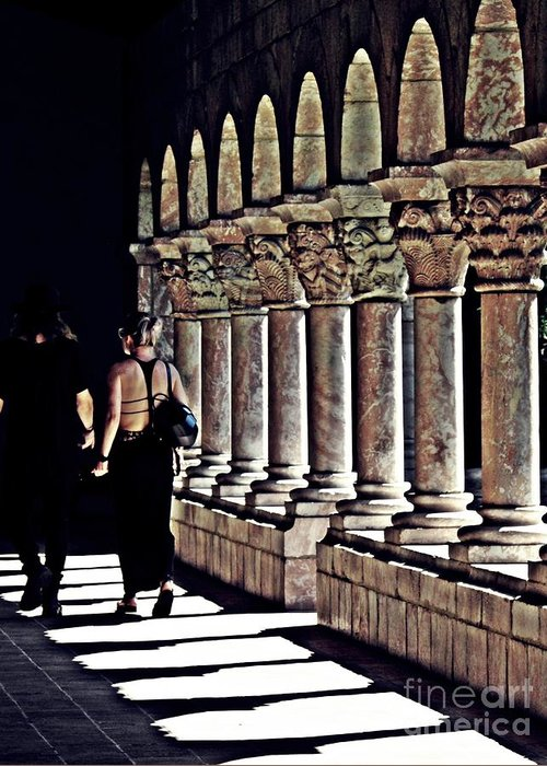 Building Greeting Card featuring the photograph Columns At The Cloisters 2  by Sarah Loft