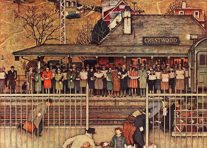 Commuters Greeting Card featuring the drawing Commuters by Norman Rockwell