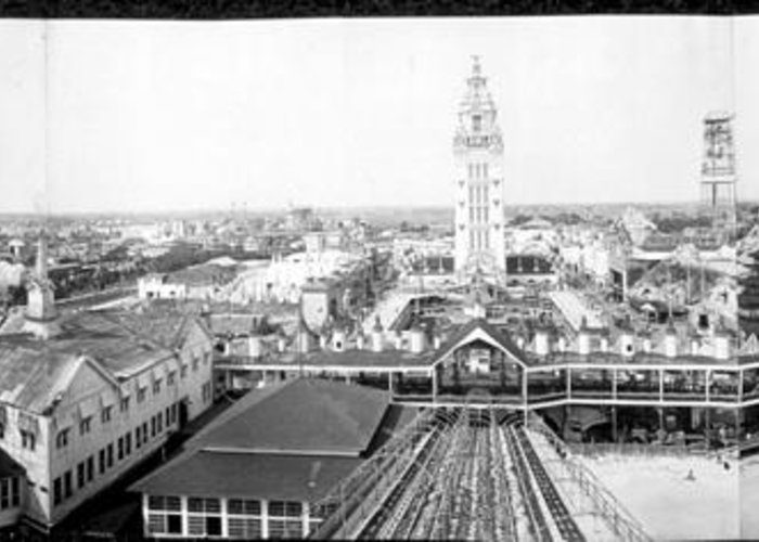 Coney Island Greeting Card featuring the photograph Coney Island 1910 Pano by Hall