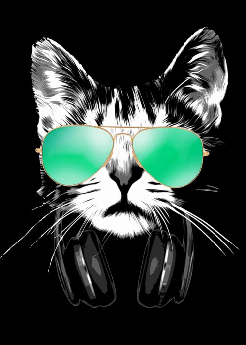 Cat Greeting Card featuring the digital art Cool DJ Cat by Filip Schpindel