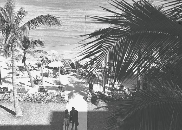 Heterosexual Couple Greeting Card featuring the photograph Couple Walking In Path Towards Beach by George Marks