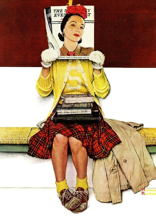 Covers Greeting Card featuring the drawing Cover Girl by Norman Rockwell
