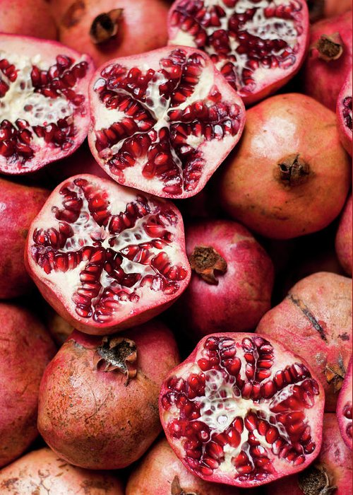 Vitamin Greeting Card featuring the photograph Cracked Pomegranate by Subman